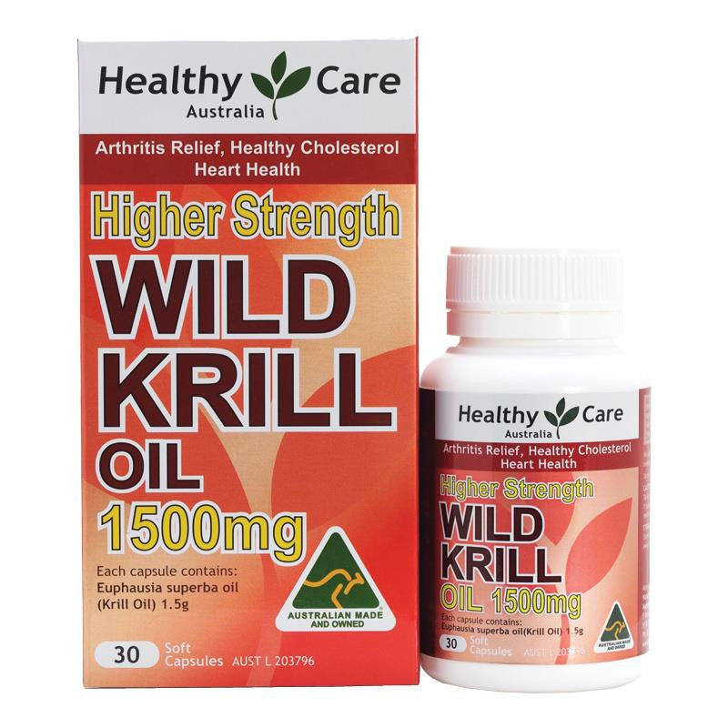 Healthy Care Wild Krill Oil 1500mg 30 Capsules