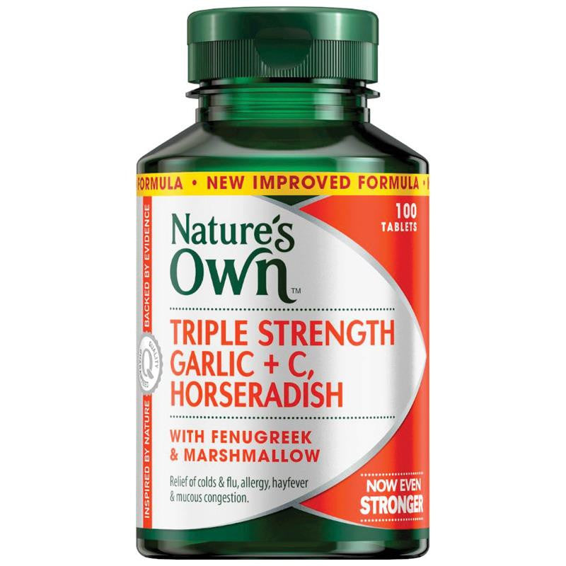 Nature's Own Triple Strength Garlic C Horseradish 100 Tablets