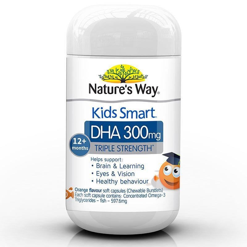 Nature's Way Kids Smart Triple Strength DHA 300mg 50 Soft Capsules
