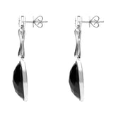 18ct White Gold Whitby Jet Long Faceted Oval Drop Earrings JD1_8
