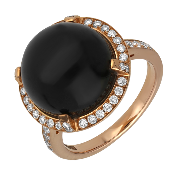 18ct Rose Gold Whitby Jet Diamond Round Dress Ring. R732.