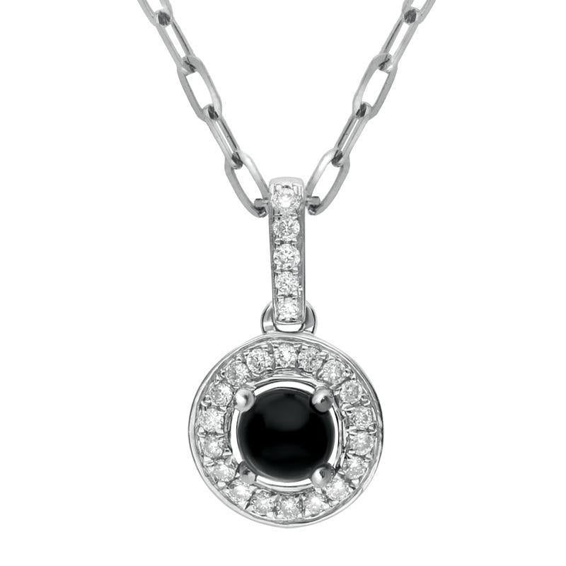 18ct White Gold Whitby Jet 0.10ct Diamond Pave Surround Necklace, P2834