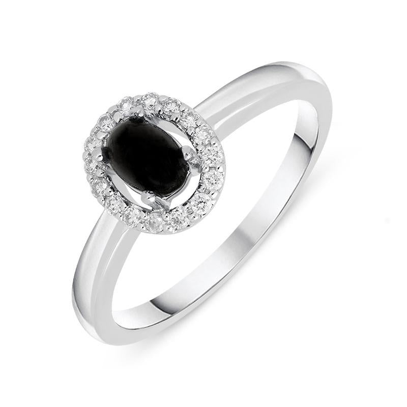 18ct White Gold Whitby Jet 0.12ct Diamond Cluster Ring, R1157.