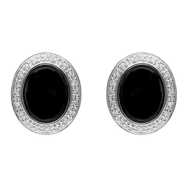 18ct White Gold Whitby Jet 0.15ct Diamond Oval Stud Earrings, E1331.