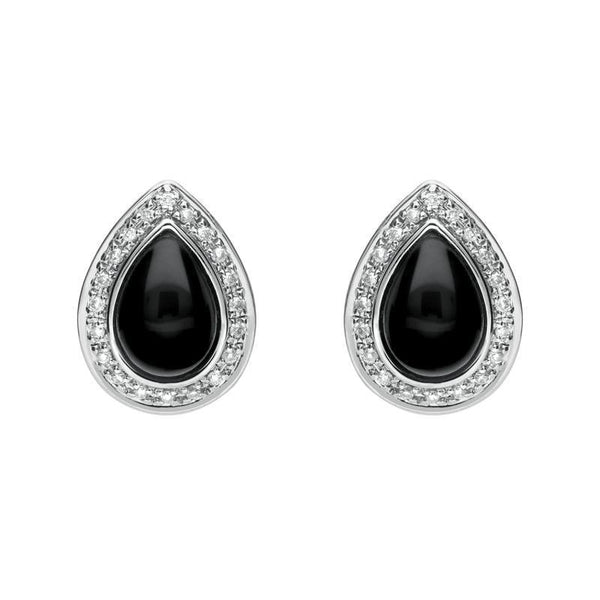 18ct White Gold Whitby Jet 0.16ct Diamond Pear Shaped Stud Earrings, E1361.
