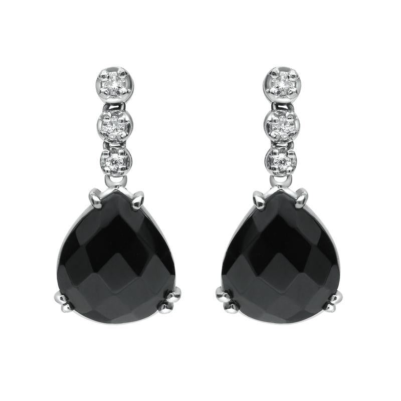 18ct White Gold Whitby Jet 0.18ct Diamond Faceted Pear Drop Earrings SH3_3JET_