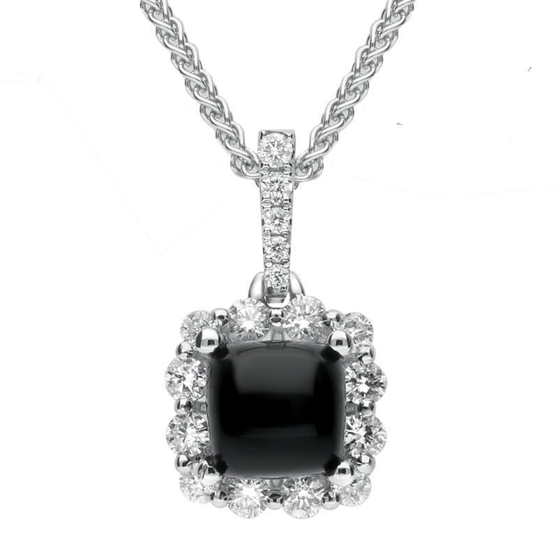 18ct White Gold Whitby Jet 0.24ct Diamond Small Square Necklace P3213C