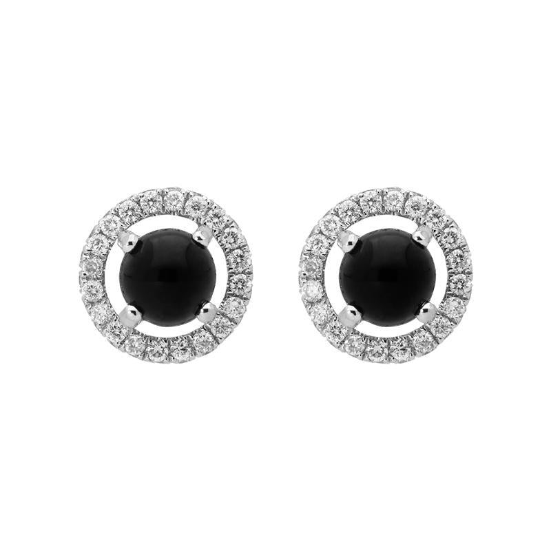 18ct White Gold Whitby Jet 0.25ct Diamond Round Stud Earrings, E2415.