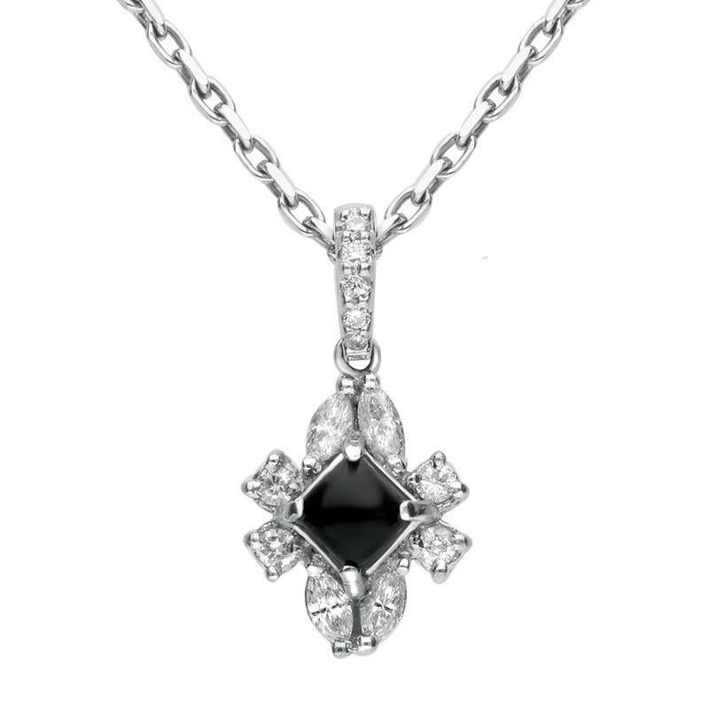 18ct White Gold Whitby Jet 0.30ct Diamond Ornate Necklace, P1549C.