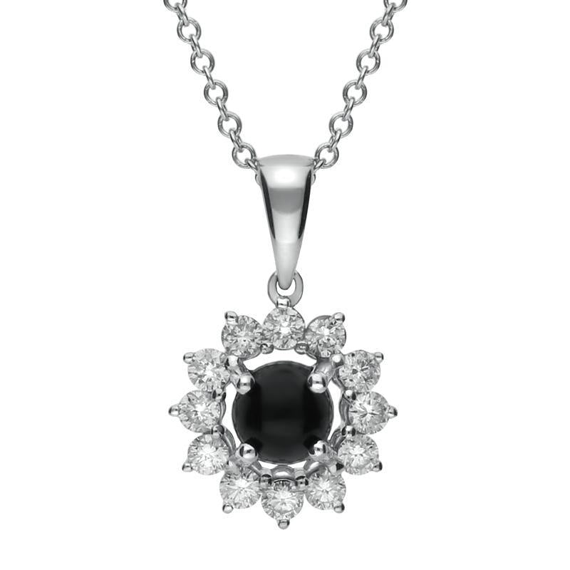 18ct White Gold Whitby Jet 0.31ct Diamond Round Centre Necklace, P2995
