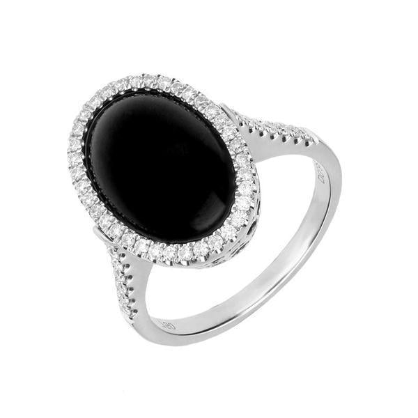 18ct White Gold Whitby Jet 0.38ct Diamond Open Heart Ring. R1106.