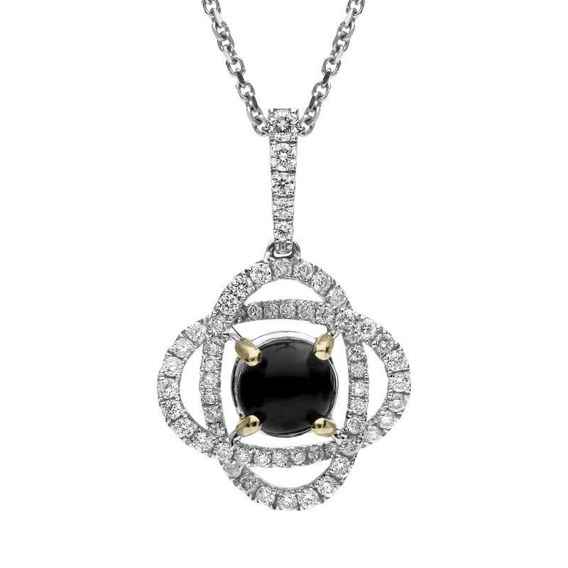 18ct White Gold Whitby Jet 0.40ct Diamond Necklace P2663