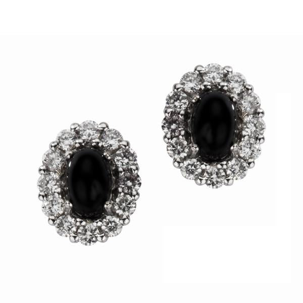 18ct White Gold Whitby Jet 0.55ct Diamond Oval Cluster Stud Earrings E1335