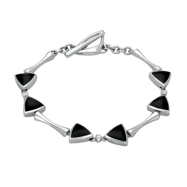 18ct White Gold Whitby Jet Diamond 6 Stone Curved Triangle Bracelet B524