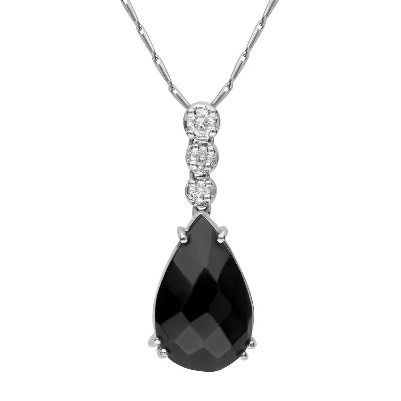 18ct White Gold Whitby Jet Diamond Graduating Claw Set Pear Necklace, SH3_7JET