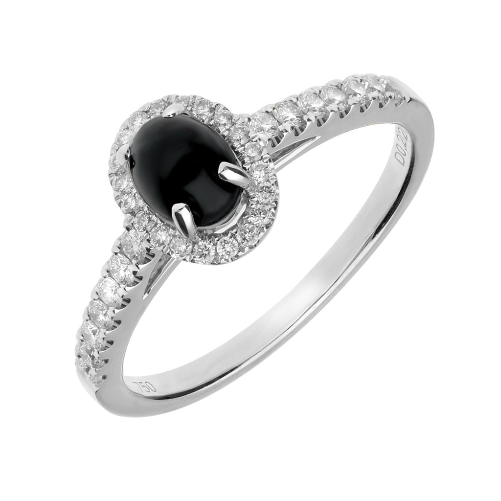 18ct White Gold Whitby Jet 0.22ct Diamond Oval Ring R1110