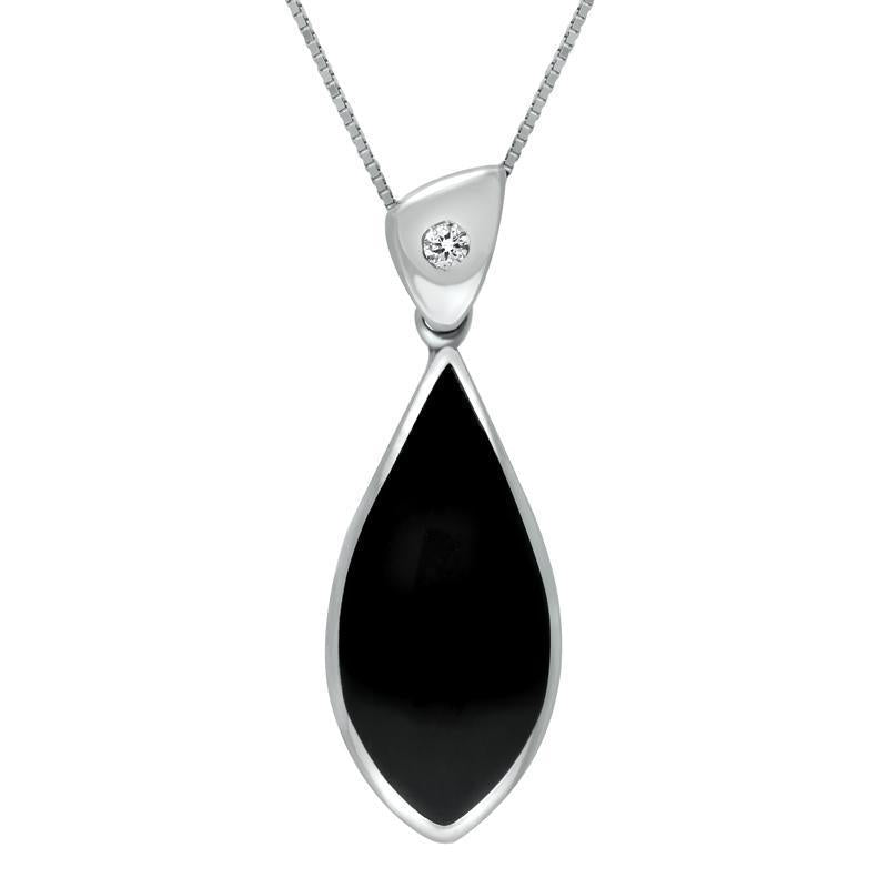 18ct White Gold Whitby Jet Diamond Pointed Pear Drop Necklace P1014