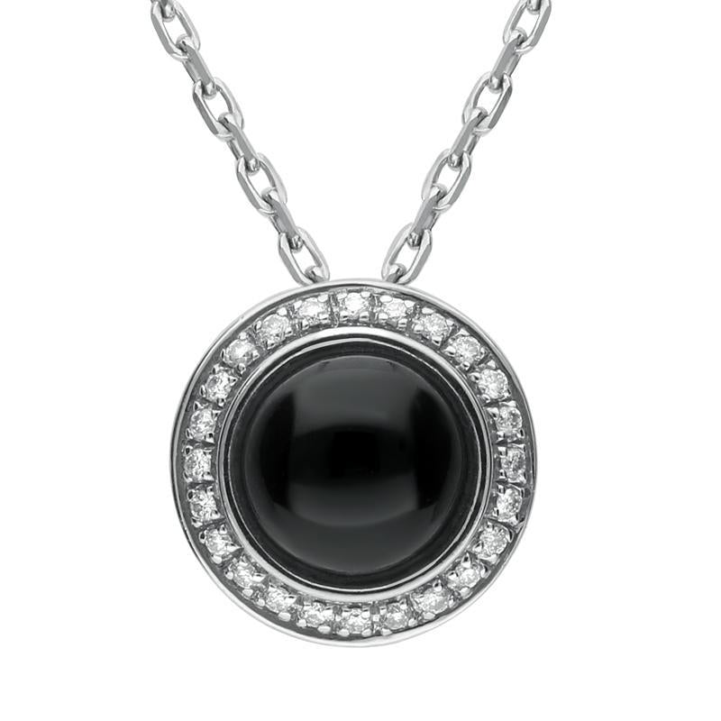 18ct White Gold Whitby Jet Diamond Round Pave Edge Necklace P2194
