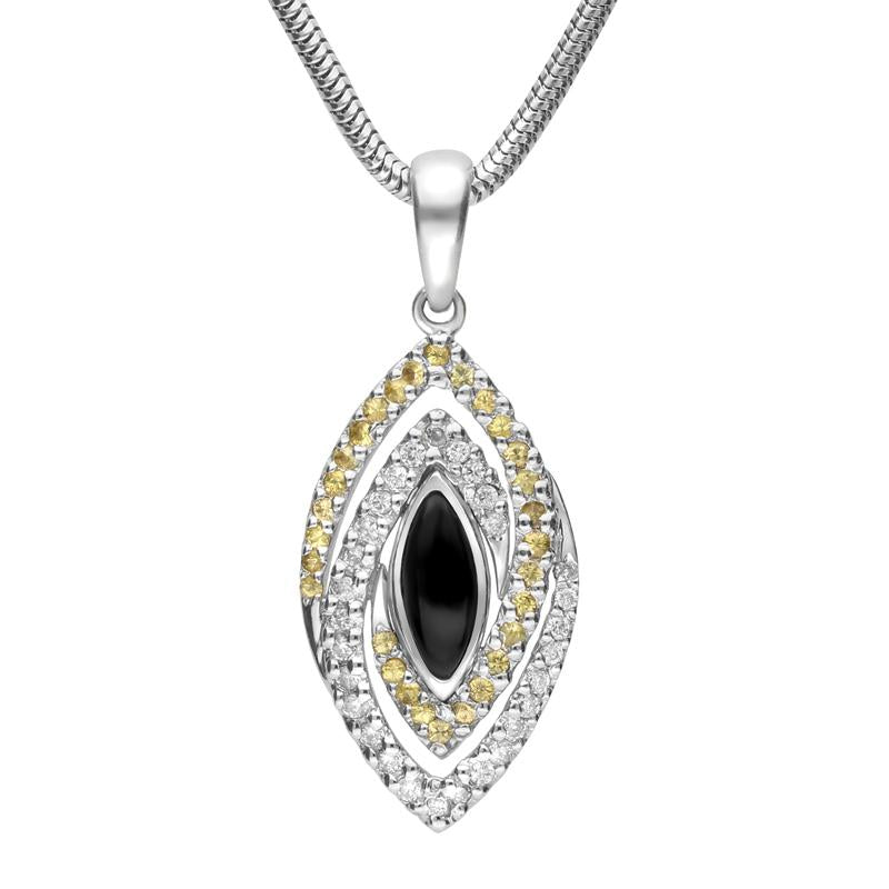 18ct White Gold Whitby Jet Diamond Sapphire Marquise Double Twist Necklace, P1550