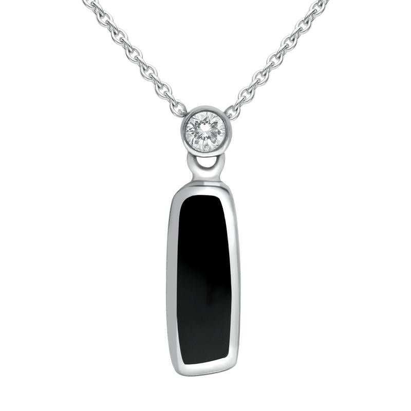18ct White Gold Whitby Jet Diamond Small Oblong Necklace P893C