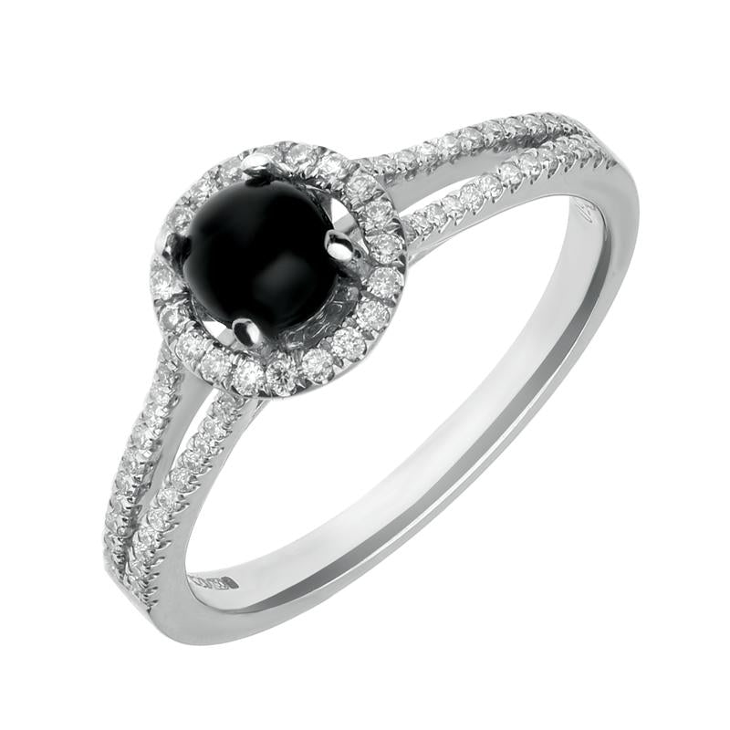 18ct White Gold Whitby Jet and 0.26ct Diamond Round Split Shank Ring. R962.