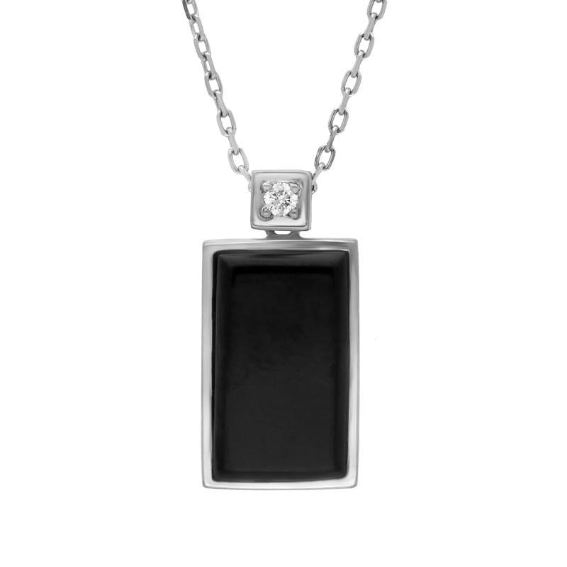 18ct White Gold Whitby Jet and Diamond Flat Oblong Necklace, JD6_3