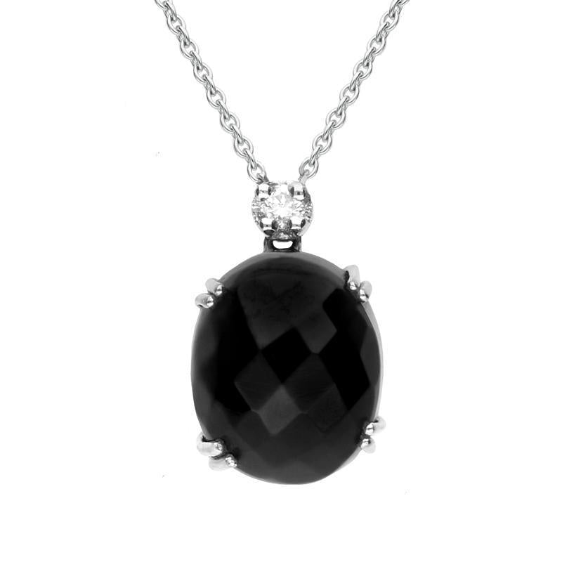 18ct White Gold Whitby Jet and Diamond Small Faceted Oval Necklace, PUNQ0000132