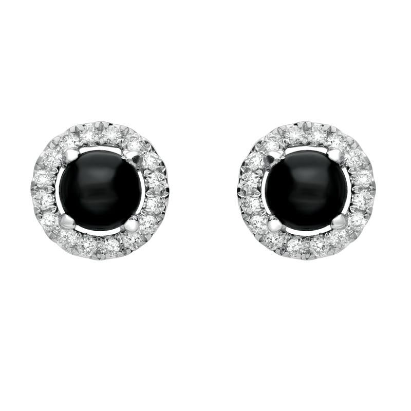 18ct White Gold Whitby Jet and Diamond Round Stud Earrings. E1994.