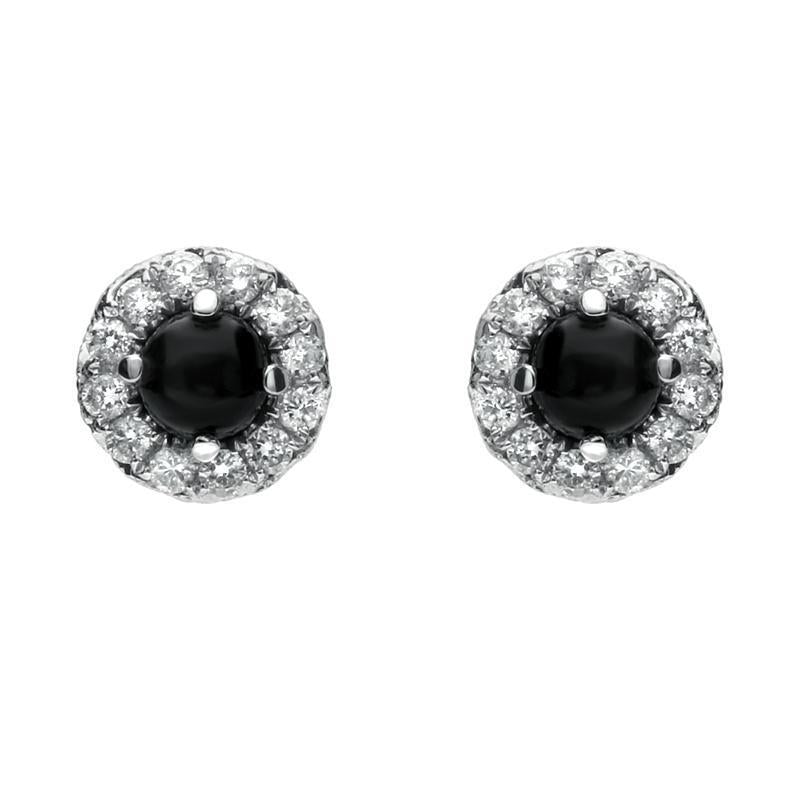 18ct White Gold Whitby Jet and Diamond Round Stud Earrings. E2121.
