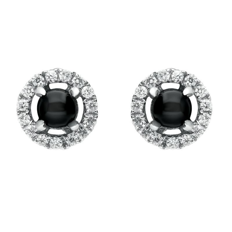 18ct White Gold Whitby Jet Diamond Round Stud Earrings