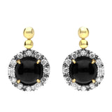 18ct Yellow Gold Whitby Jet and Diamond Small Round Claw Set Drop Earrings E1675