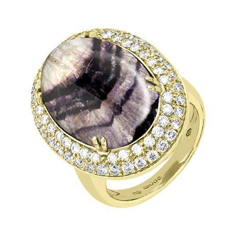 18ct Yellow Gold Blue John 1.47 Carat Diamond Ring. R469.