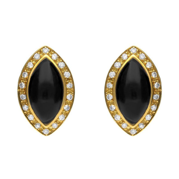 18ct Yellow Gold Whitby Jet 0.17ct Diamond Marquise Pavê© Edge Stud Earrings E1333