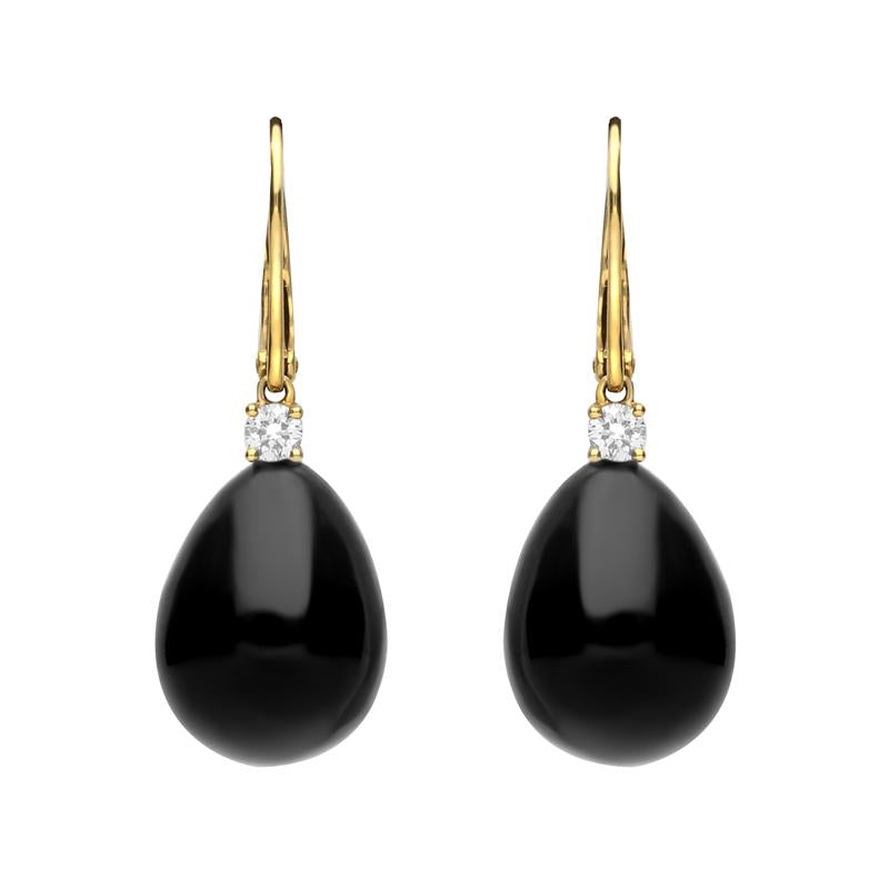 18ct Yellow Gold Whitby Jet 0.20ct Diamond Lever Back Pear Drop Earrings. E2248