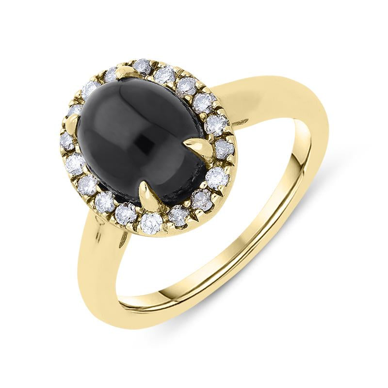 18ct Yellow Gold Whitby Jet 0.23ct Diamond Oval Ring, R769.