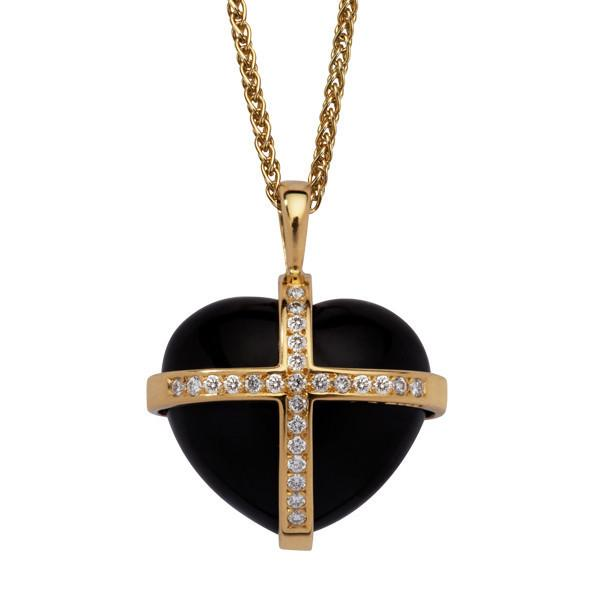 18ct Yellow Gold Whitby Jet 0.37ct Diamond Large Cross Heart Necklace P1906C