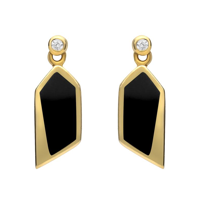 18ct Yellow Gold Whitby Jet Diamond Abstract Pentagon Drop Earrings, E730