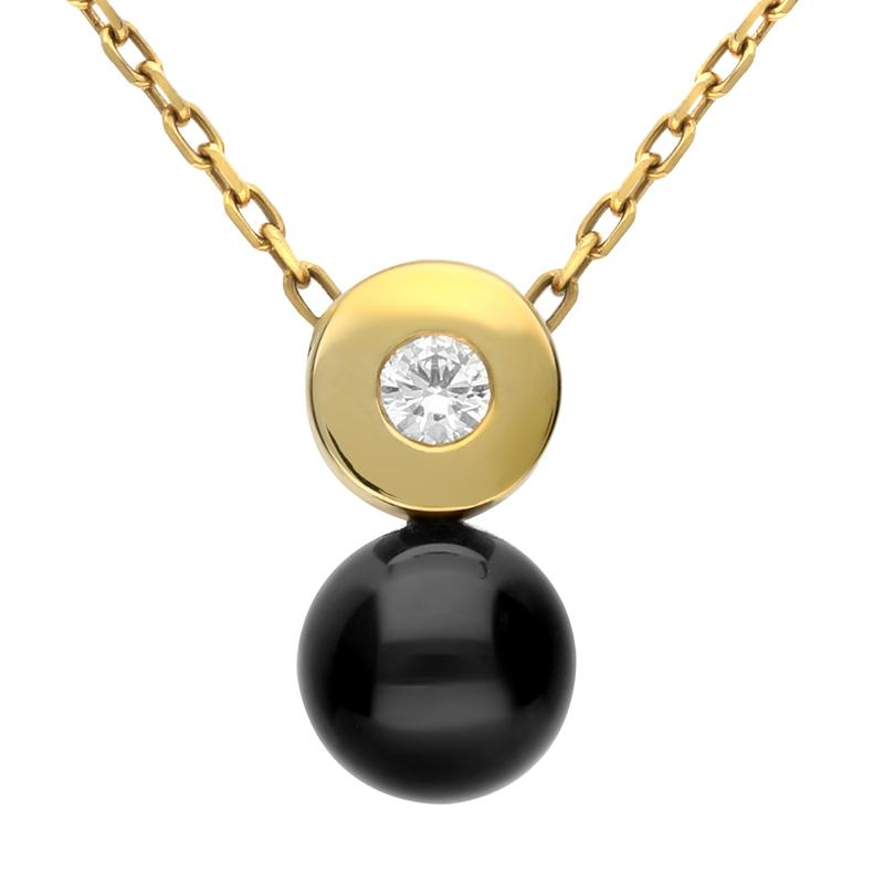 18ct Yellow Gold Whitby Jet Diamond Cylinder Bead Necklace. p448c.