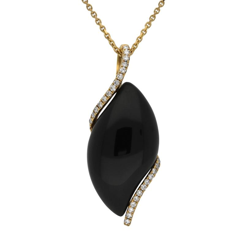 18ct Yellow Gold Whitby Jet Diamond Marquise Necklace. P1705.