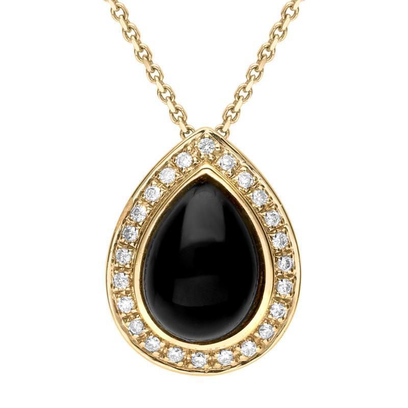 18ct Yellow Gold Whitby Jet 0.12ct Diamond Pear Pave Necklace P1795C