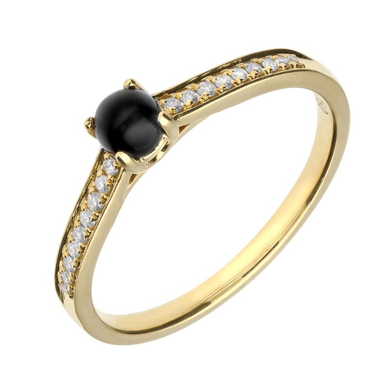 18ct Yellow Gold Whitby Jet Diamond Shoulder Solitaire Ring R1099.