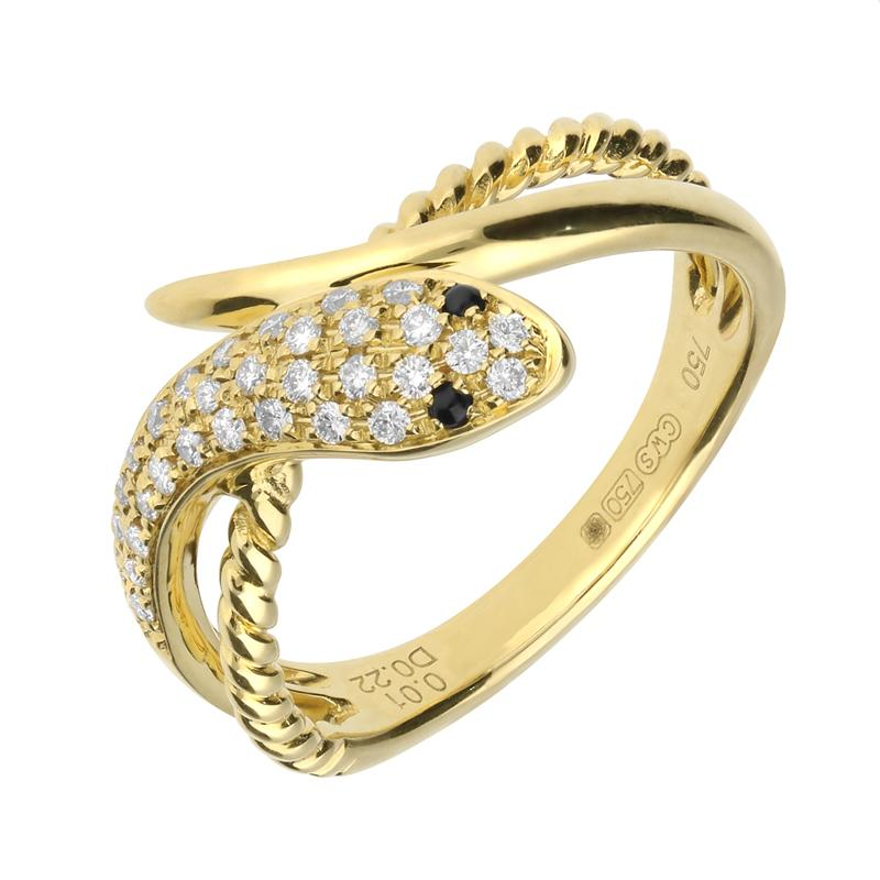 18ct Yellow Gold Whitby Jet Diamond Twist Snake Ring R1105