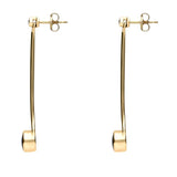 18ct Yellow Gold Whitby Jet and Diamond Long Drop Earrings, E641