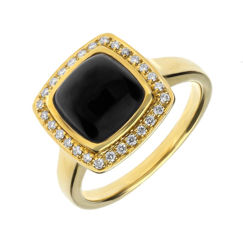 18ct Yellow Gold Whitby Jet Diamond Small Cushion Pave Edge Ring R593