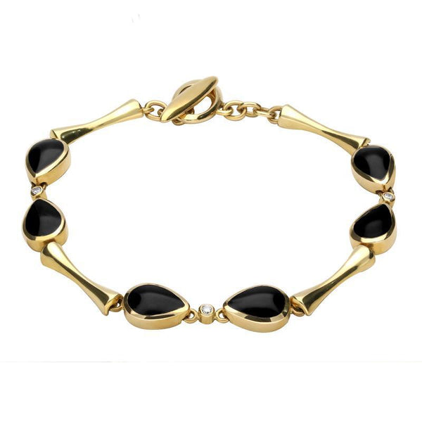 18ct Yellow Gold Whitby Jet and Diamond Six Stone Pear Bracelet B530
