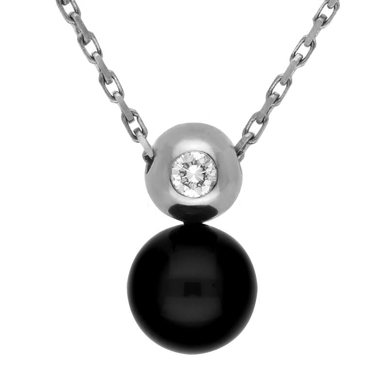 18ct White Gold Whitby Jet and Diamond Bead Necklace, P449CB