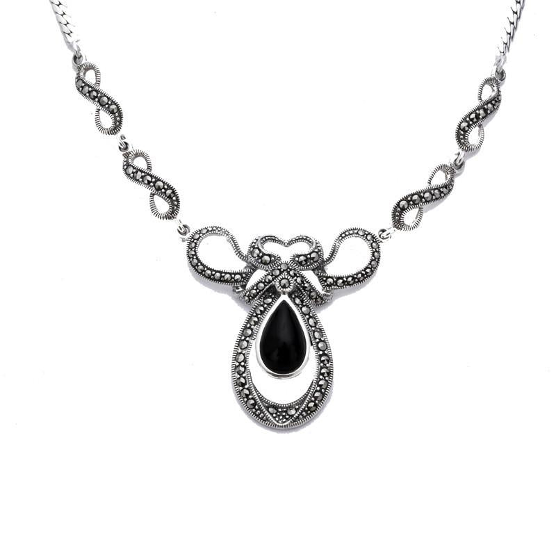 Sterling Silver Whitby Jet Marcasite Drop Bow Twist Necklace N893