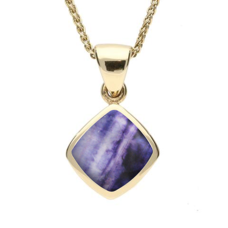 9ct Yellow Gold Blue John Dinky Cushion Necklace. P452.