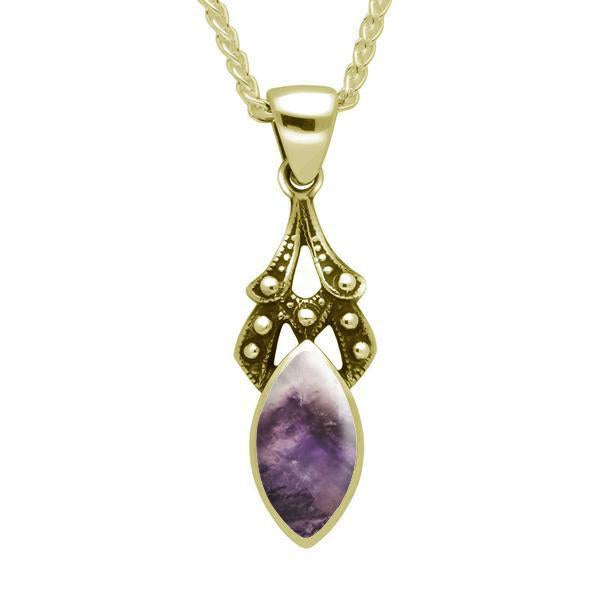 9ct Yellow Gold Blue John Marquise Drop Necklace. P089.
