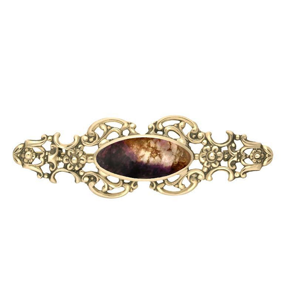 9ct Yellow Gold Blue John Oval Fancy Brooch, M076